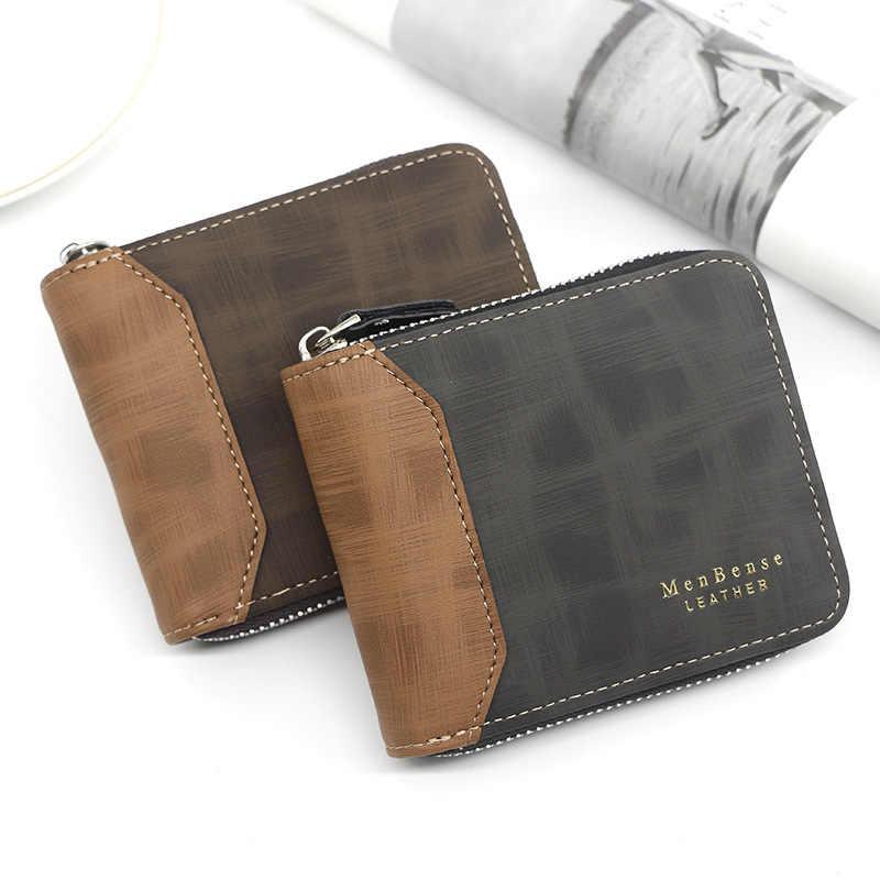 Бизнес Для мужчин кошелек для монет с застежкой-молнией короткие Роскошные Для мужчин кошельки, сумочка для денег для мужчин, с заклепкой, hommes мульти-карта, сумка-клатч
