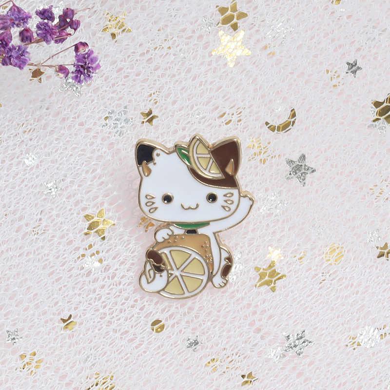 Kartun Lencana Lucu Lemon Kucing Bros untuk Wanita Wanita Indah Hewan Pin Perhiasan Enamel Pin Ransel Sweater Tas Aksesoris