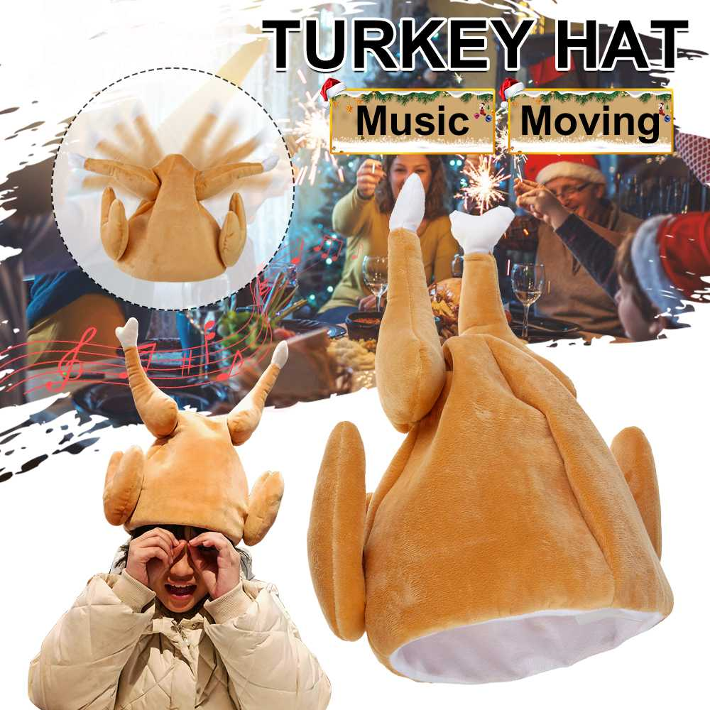 Upgrade Electric Version Thanksgiving Day Turkey Hat With Moving Music Plush Hat Party Festival Costume Cap Adult Carnival Hat