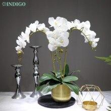 Blanc orchidée fleur arrangement 90cm (3 orchidée + 3 feuille + Pot en option) vraie touche fleur mariage fête décoration événement fleuriste
