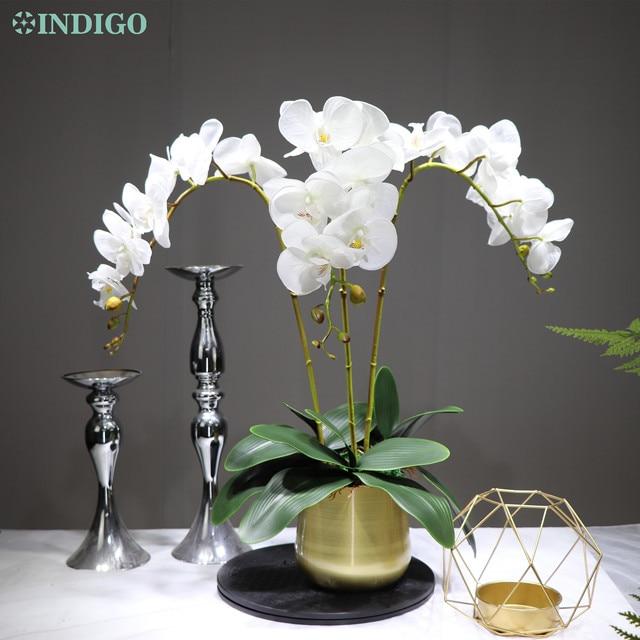 White Orchid Flower Arrangment 90ซม.(3 Orchid + 3ใบ + หม้อตัวเลือก) real Touchดอกไม้งานแต่งงานตกแต่งกิจกรรมFlorist