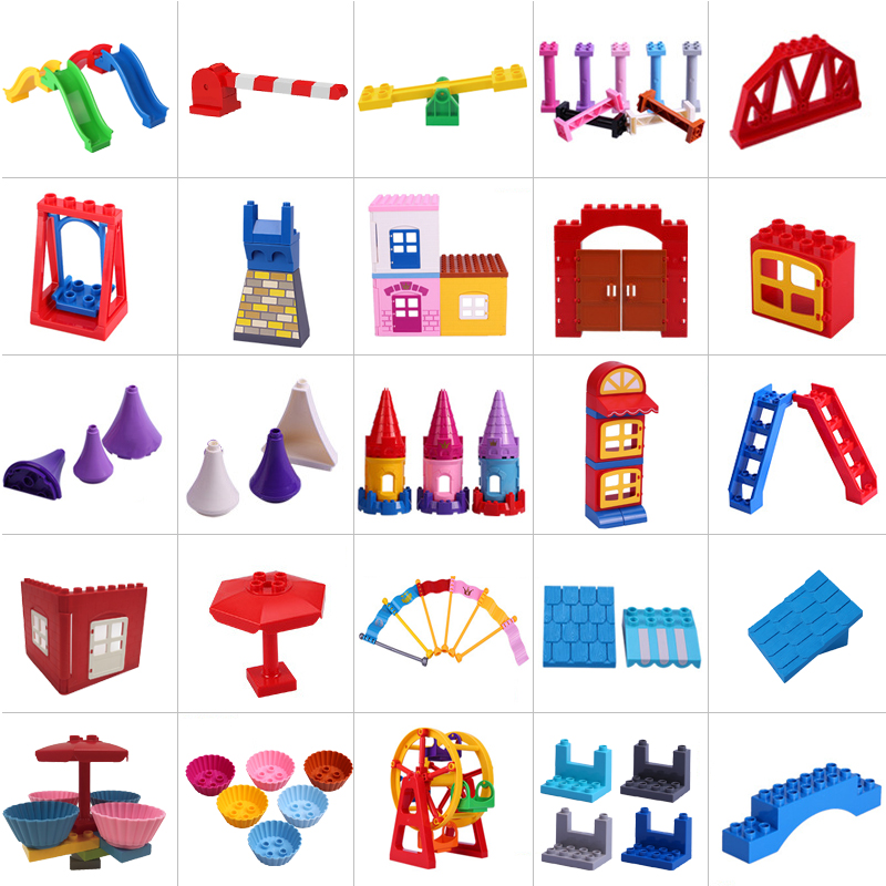 New Duplo House Bricks Big Particles Building Blocks Accessory Gift Toys Playmobil Figures Compatible With Legoly Duplo Animals
