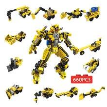 цена на 660pcs Transformation Robot Series Building Blocks Set Car Truck Model Deformation Backhoe Loader Road Roller Forklift Toy Brick