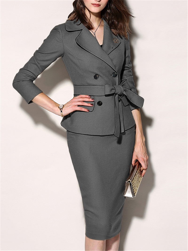 Office-Suits Formal-Dress Fold-Over-Collar Bodycon Winter Women's Plain Elegant Chic