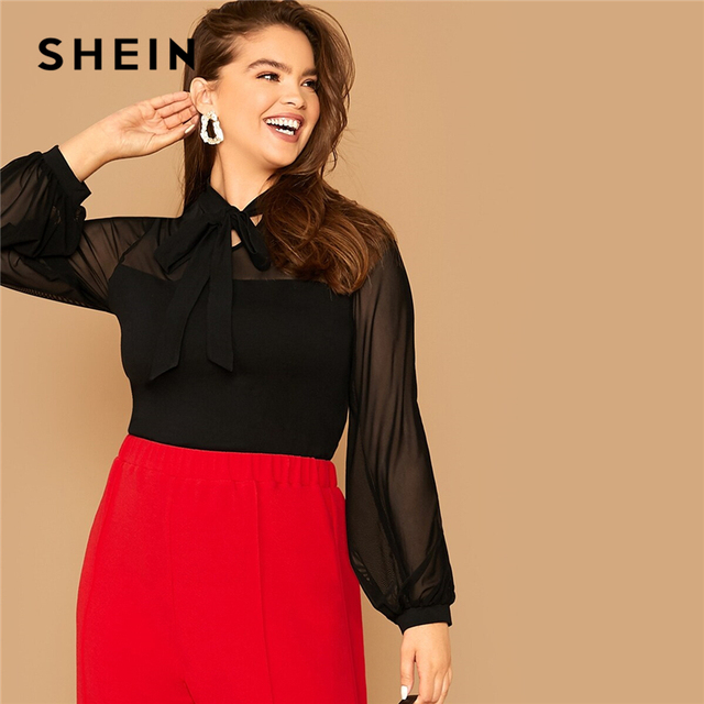 SHEIN Plus Size Black Tie Neck Mesh Sleeve Top Blouse Women Autumn Stand Collar Office Lady Womens Elegant Tops and Blouses