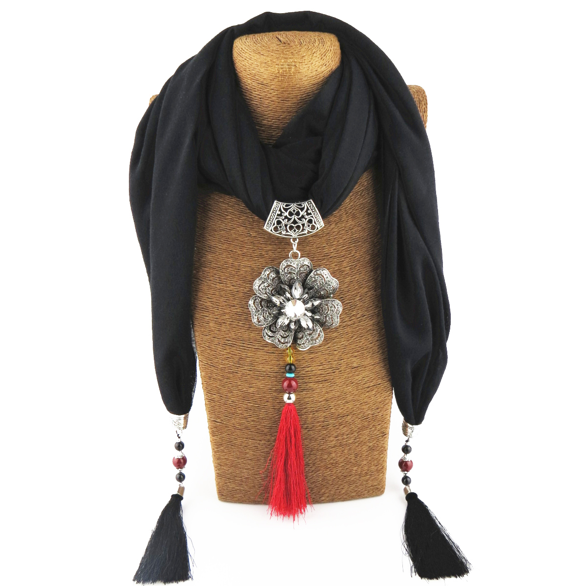 Jzhifiyer cotton polyester women foulard pendant scarf jewellery mujer shawls fringe 40x200cm hijab scarfs necklace beads shawl