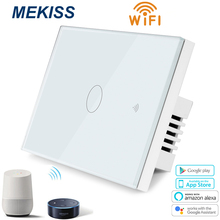 MEKISS US Glass panel touch switch,light switch,WIFI network + mobile APP smart control switch,1gang2gang3gang AC110-220V