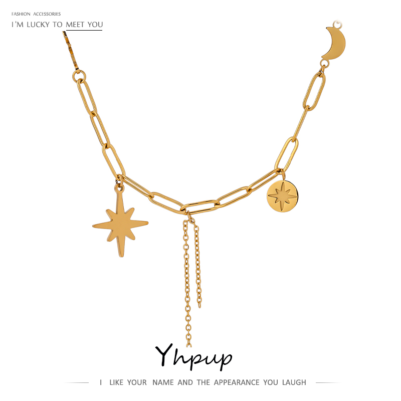 Yhpup Fashion North Star Moon Necklace joyería acero inoxidable mujer Minimalist Metal Chain Collar Necklace Jewelry Gift 2020