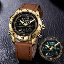 Lüks marka erkekler NAVIFORCE 9144 altın ordu askeri izle Led dijital deri spor saatler kuvars erkek saat Relogio Masculino