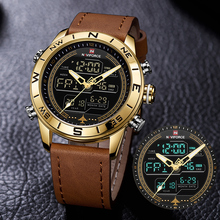 Sports Watches Military-Watch Mens Clock Quartz Digital Gold Army Naviforce 9144 Luxury Brand