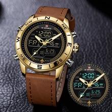 Orologio da uomo di lusso NAVIFORCE 9144 orologio militare militare in oro Led orologi sportivi in pelle digitale orologio al quarzo da uomo Relogio Masculino
