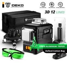 DEKO DKLL12PB2 SET2 12 линий 3D зеленый лазерный уровень Горизонтальные и вертикальные поперечные линии с автоматическим самонивелированием