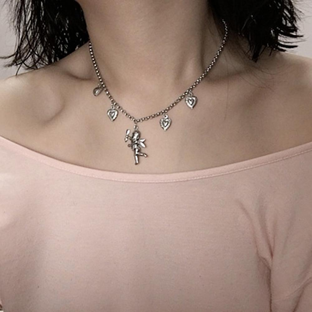 90 discount sale Black Friday Lowest Price Women Retro Cupid Love Bell emerald green choker necklace Charm Pendant Necklace Clavicle Chain Choker Jewelry decor Accessory GIft onitsuka tiger womens sale Choker Necklaces or12018101