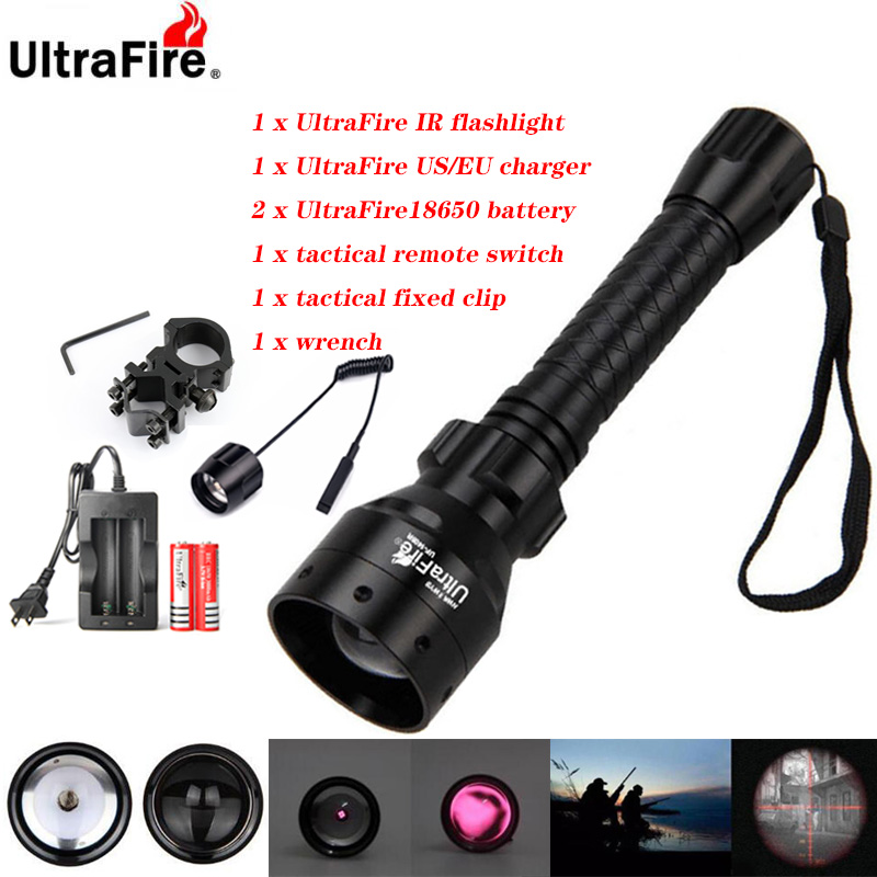 Ultrafire IR Night Vision Flashlight 10W 850nm 940nm LED Zoomable Flashlight Infrared Radiation Hunting Torch 18650 Battery