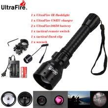 Ultrafire ir visão noturna lanterna 10w 850nm 940nm led zoomable radiação infravermelha caça tocha 18650 bateria