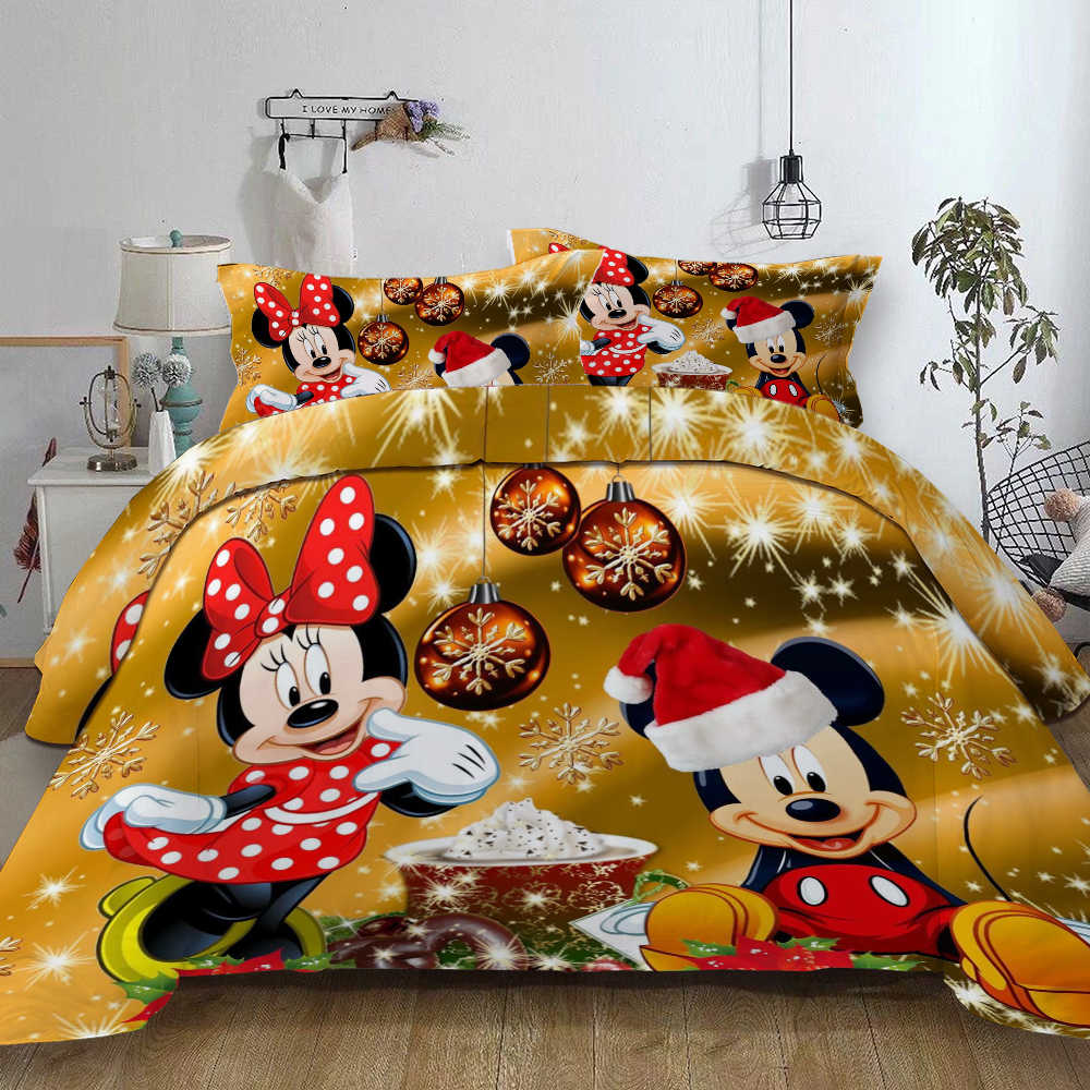 Christmas Mickey Minnie bedding sets queen King sizes bed linens set disney Mickey Home Textile Adult Children Gift duvet cover