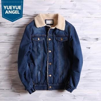 Japan Style Vintage Men Cotton Washed Slim Warm Denim Jacket High Street Winter Thicken Single Breasted Cowboy Coat Outerwear