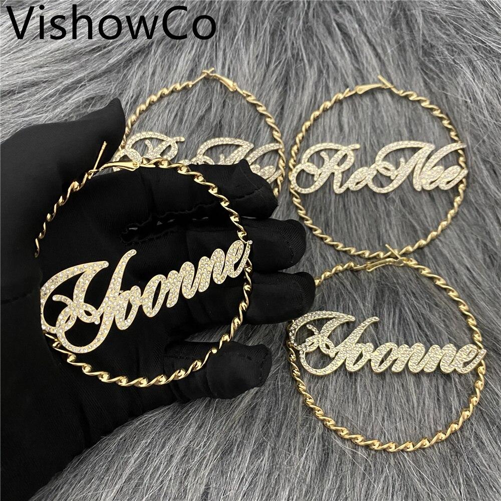 VishowCo Custom Name Earrings Personalized Stainless Steel  Twist Thread Hoop Zircon Nameplate Earrings For Girlfriend Gifts