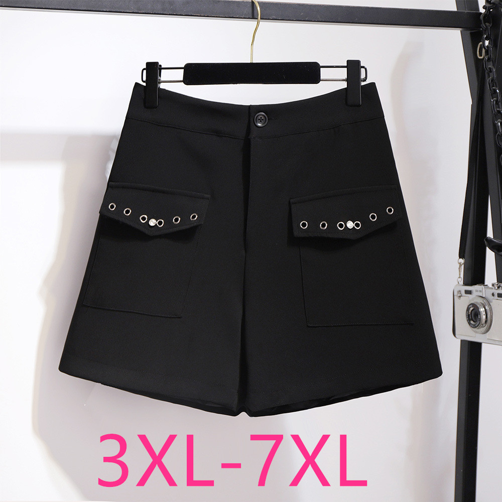 2020 Spring Autumn Winter Plus Size Shorts For Women Large Casual Loose Elastic Waist Wide Leg Shorts Black 3XL 4XL 5XL 6XL 7XL