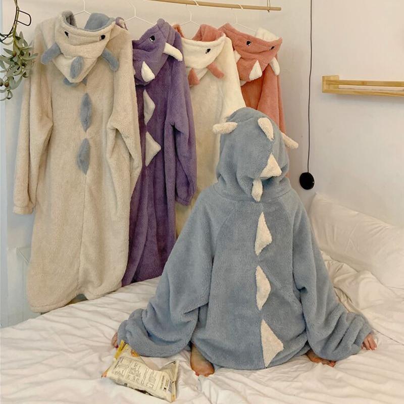 Autumn Winter Women Cute Pajamas Cartoon Ears Hooded Sleepwear Coral Fleece Lady Home Clothes Female Sweet Warm Lounge Pyjamas