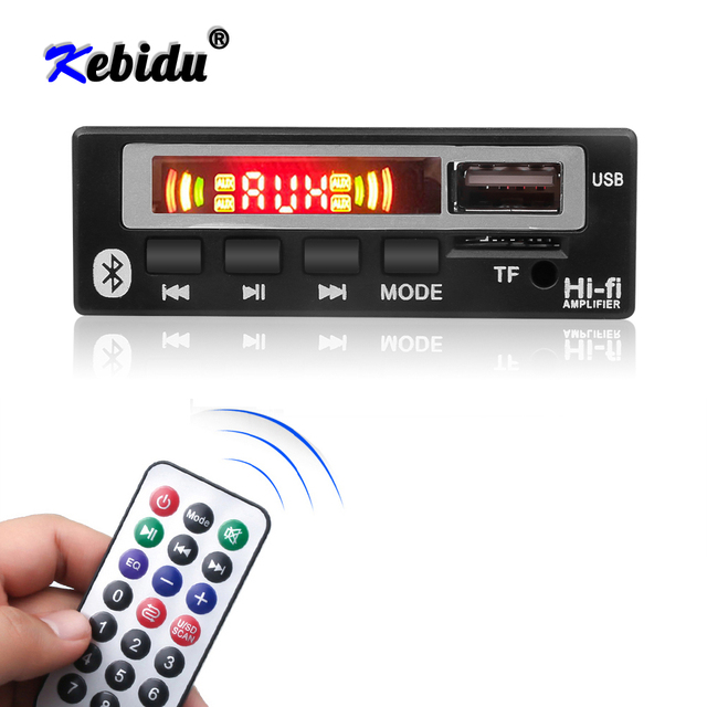 Kebidu LED Wireless Bluetooth 5V 12V MP3 WMA WAV Decoder Board Audio Module Music Speaker MP3 USB FM TF Radio Car accessories