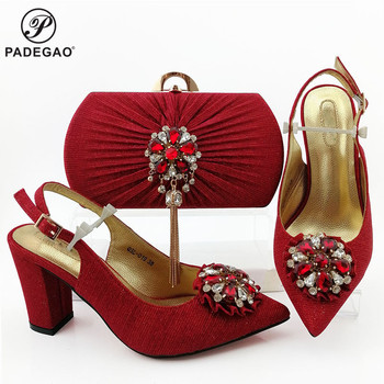 Classics Special Design Red Color Shoes And Bag To Match Set African High Heels Party Shoes And Bag Set For Wedding Dress