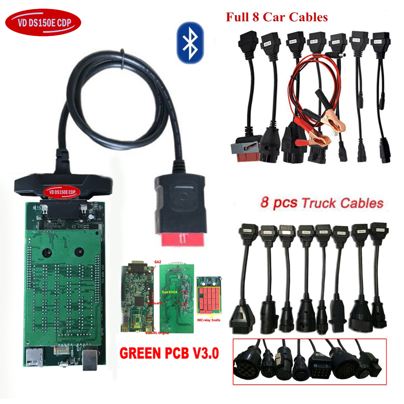Новинка 2019 16R0 с keygen для delphis vd ds150e c-d-p bluetooth V3.0 автомобильный Грузовик vd tcs cdp obd obd2 сканер + автомобильные кабели для грузовиков.