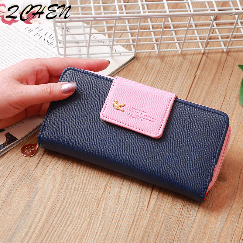 Woman's Wallet Long Red Zipper Bow Brand Leather Coin Purses Design Flying Bird Clutch Female Money Bag Credit Card Holder 562