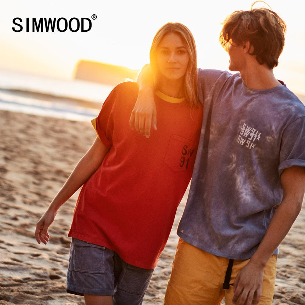 SIMWOOD 2020 Summer New 100% Cotton T-shirt Men Fashion 32s/2 240g High Quality Fabric Letter Print Lover's Clothes SJ120160