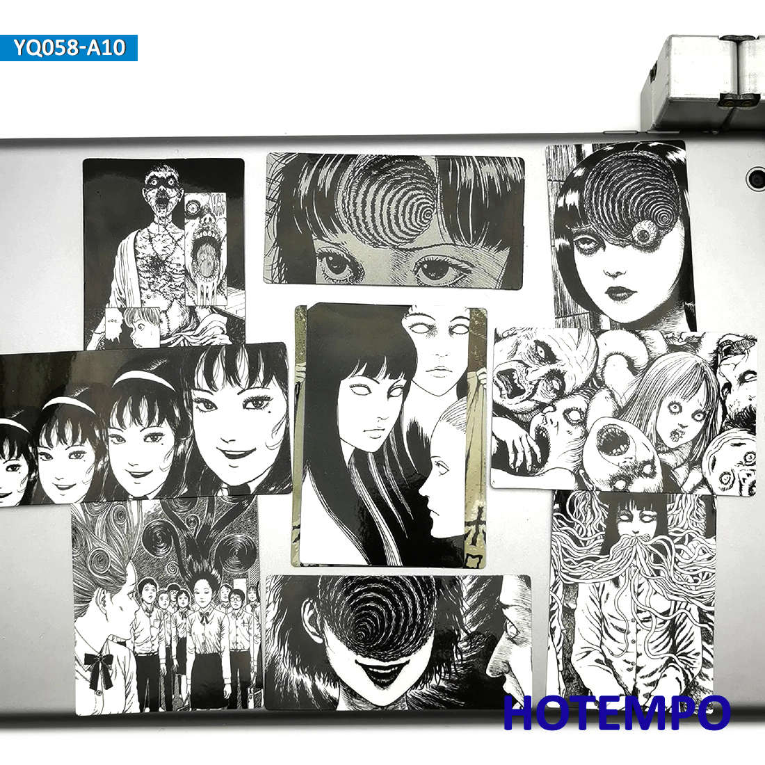 10pcs Terror Manga Art Stickers Junji Itou Kawakami Tomie Spiral For Mobile Phone Laptop Luggage Skateboard Horror Comic Sticker