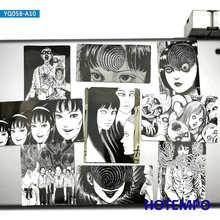 10 pçs terror manga arte adesivos junji itou kawakami tomie espiral para o telefone móvel portátil bagagem skate horror comic adesivo