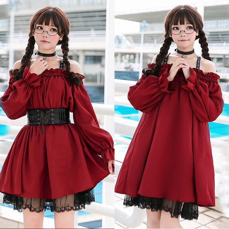 Gothic Vintage Sweet Lolita Dress Palace Lace Off Shoulder Girdling Slim Victorian Dress Kawaii Girl Gothic Lolita Op Loli Cos