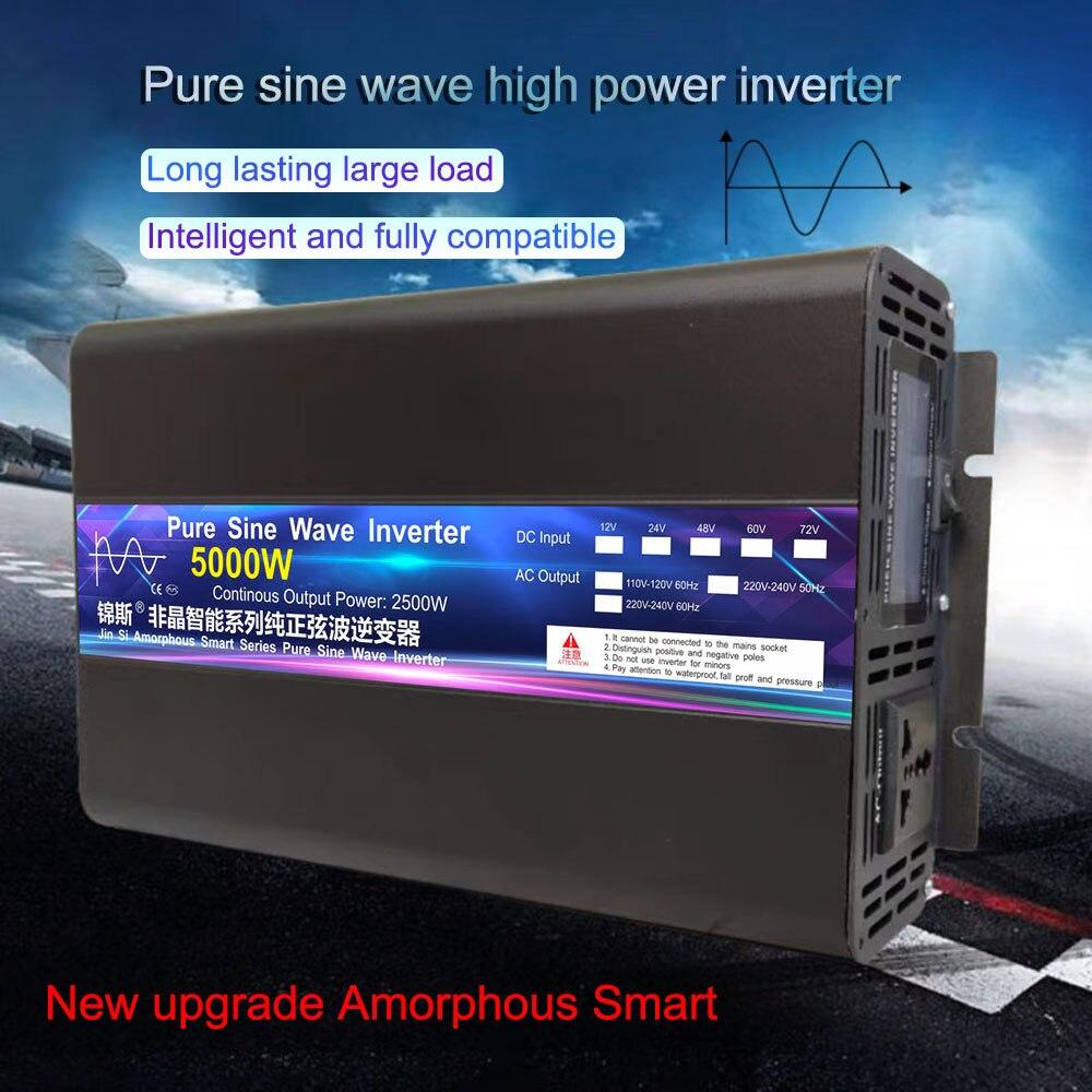 Инвертор с чистым синусом Мощность 4000 Вт Инвертор с зарядным устройством 5000 Вт AC/DC 12V 24V 48V к переменному току 220V преобразователь частоты 50 Гц ...