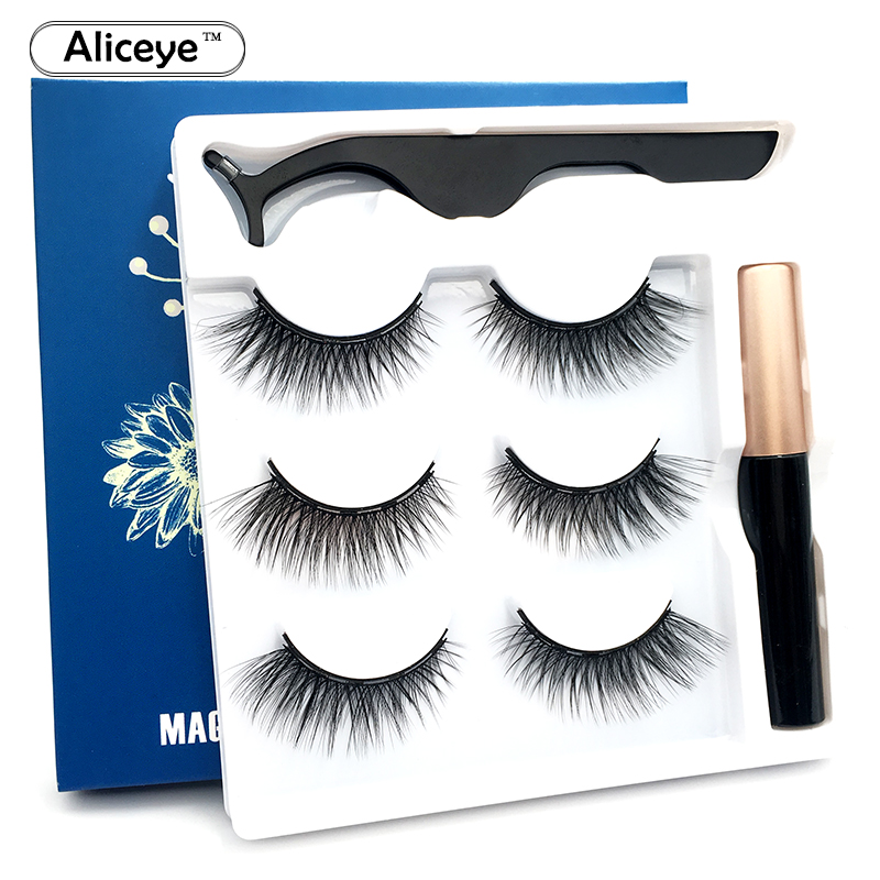 3D Magnetic Eyelashes And Eyeliner Set False Eyelashes 5 Magnet Mink Lashes Natural Thick Soft Magnetic Eye Lashes Makeup Set