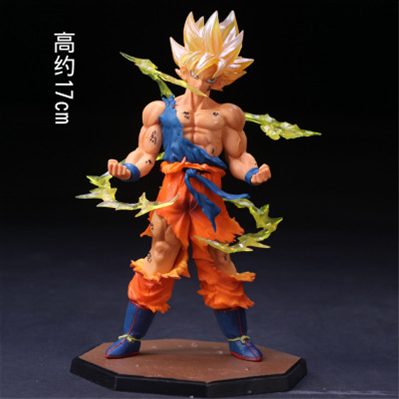 Dragon Ball Sun Wukong Super Saiyan Battle State War Damage Hand Model Toys Figurals Model Dolls Brinquedos 17cm