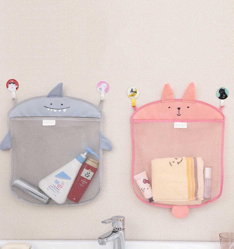 Dibujos Animados lindo baño cesta colgante de almacenamiento niños bebés baño organizador Almacenamiento de juguetes baño plegable canasta de almacenamiento de malla