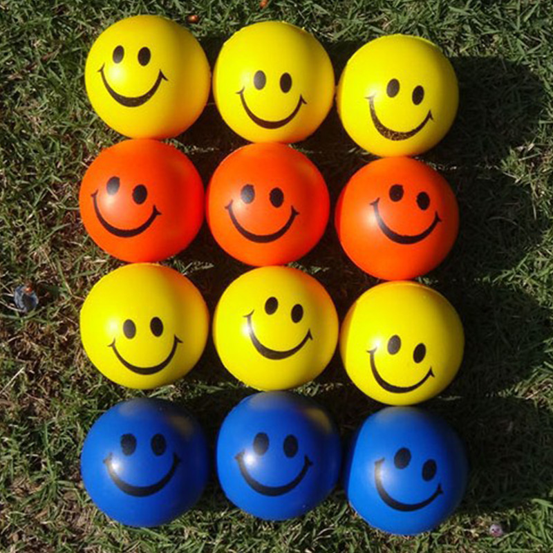 High Quali Smile Face Print Sponge Foam Squeeze Stress Ball Relief Yoga Gym Fitness Toy Hand Wrist Exercise PU Rubber Toy Balls