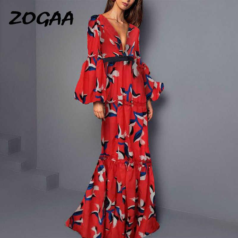 ZOGAA 2019 Czech Đỏ Áo Dài Cổ V Sâu Xù Quý Phái Sang Trọng Dạ Hội Đêm Dài Đầm Nữ Mùa Hè Đầm Maxi áo dây Femme