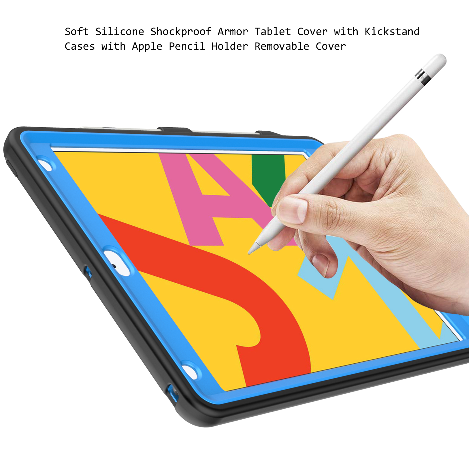For iPad 8th Generation 10 2 Case 2020 with Pencil Holder Tire Pattern Shockproof Hard PC