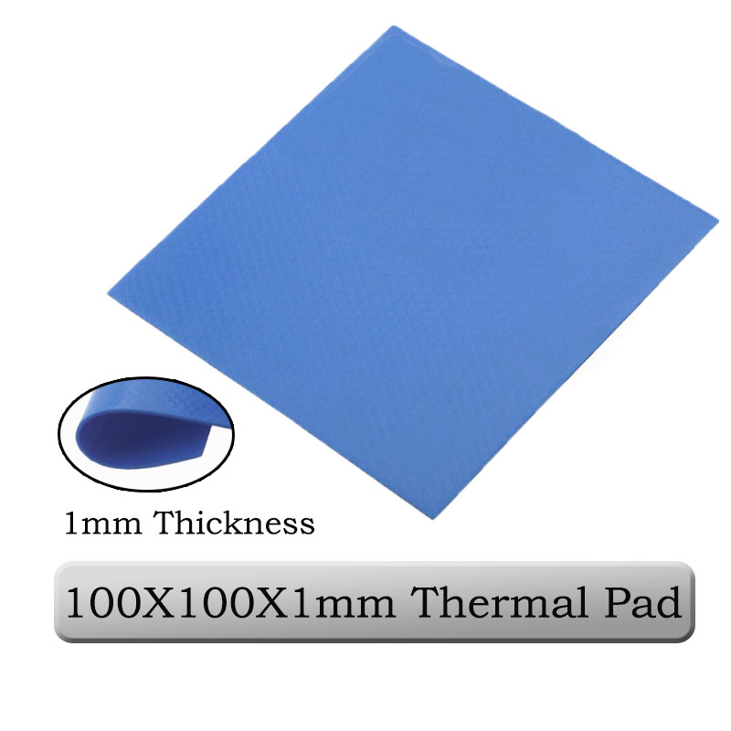 1pcs Gdstime 100mm X 100mm X 1mm 0.1cm Thickness Blue Thermal Conductive Silicone Pad