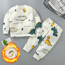 Autumn Winter Plus Velvet Children's Clothing Sets for Girls 3-8y Cotton Thicken Cartoon Pattern Baby Boy Keep Warm Pajamas Suit