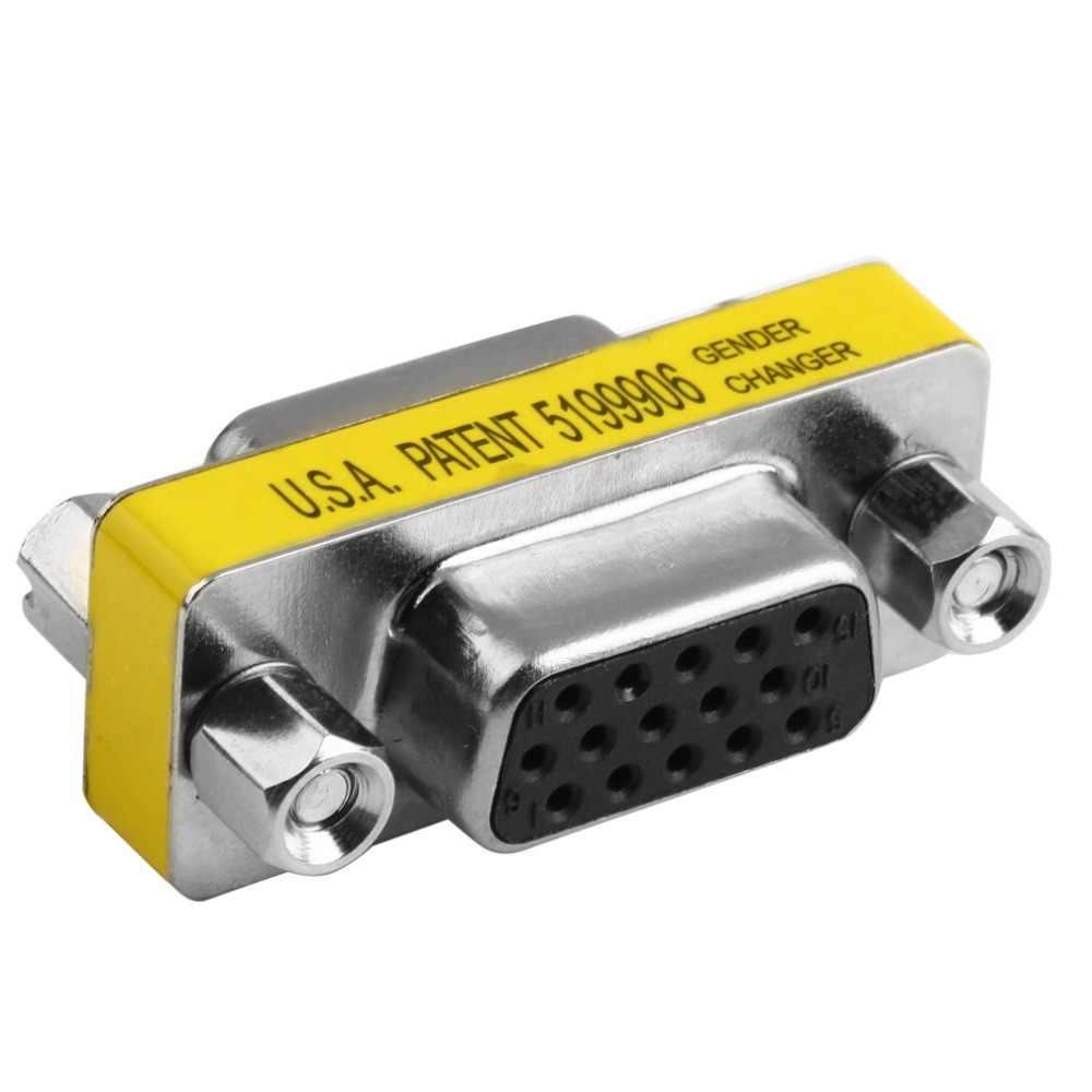 ใหม่หญิงหญิง VGA HD15 Pin เพศแปลงอะแดปเตอร์สำหรับจอภาพโปรเจคเตอร์ตัวแยกสัญญาณ VGA KVM คอมพิวเตอร์ขายส่ง
