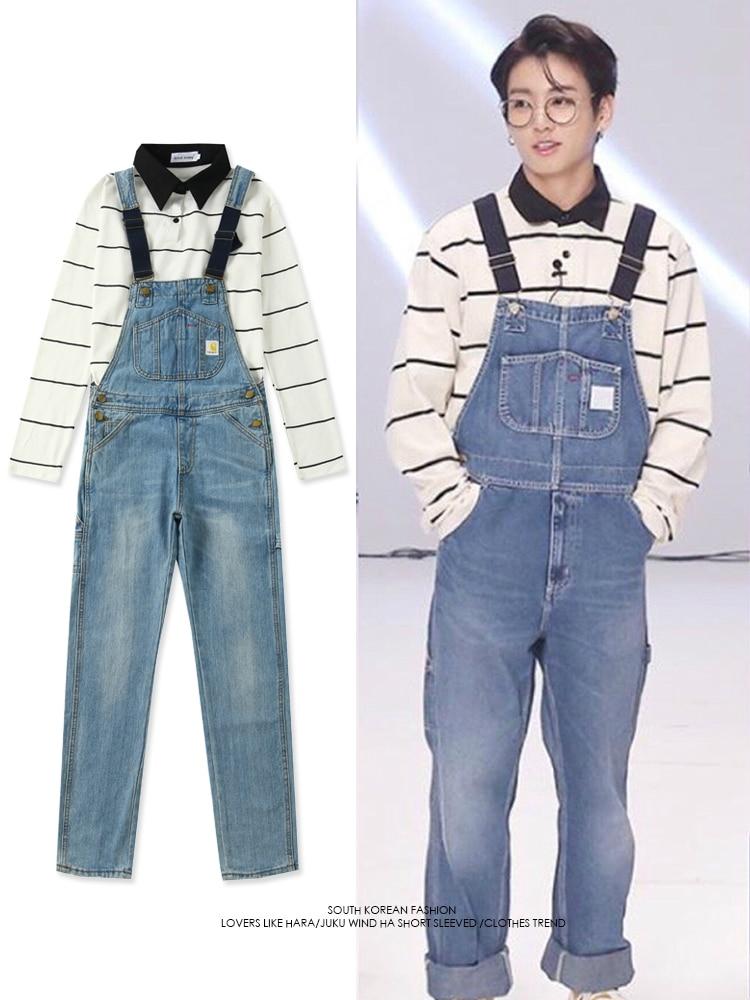 Kpop Bangtan garçons Jung Kook le même hiver chaud streetwear jeans décontractés ample femme coréen bleu taille haute grandes poches jean