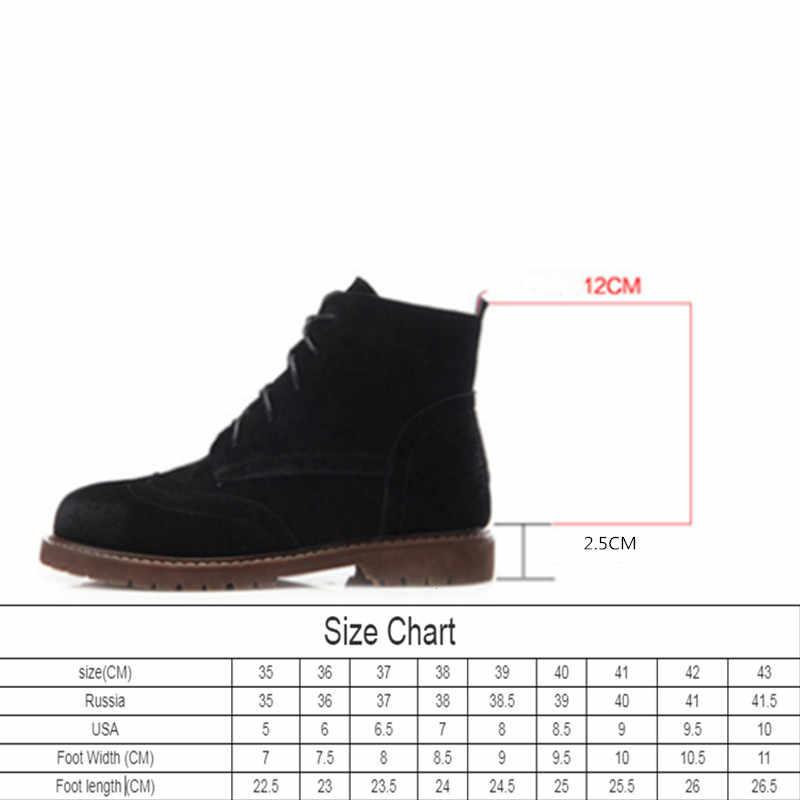Kadın ayakkabı 2020 bahar hakiki deri kadın Martin çizmeler süet kadın patik İngiliz dantel retro trend kadın naked boots