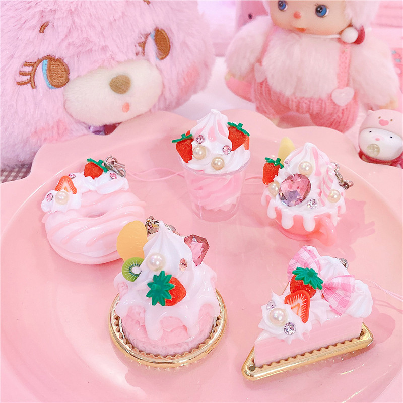 1pc Lovely Icecream Cake Keychain Imitation Cake Food Key Chains For Girls Kids Christmas Gifts House Decor Drop Shipping