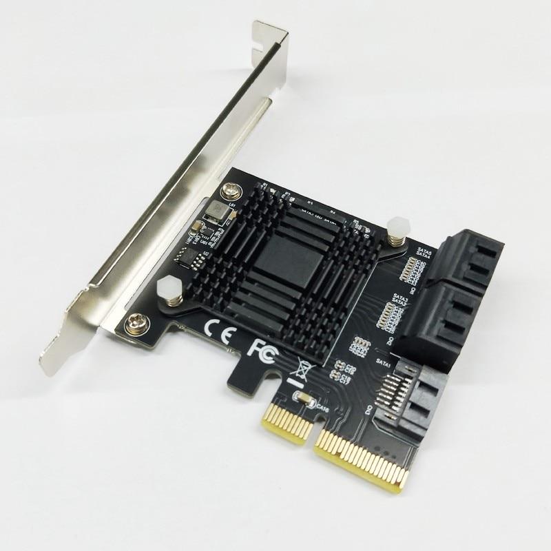 H1111Z Add On Cards PCIE SATA Controller PCI-E SATA Hub/Card PCIE To SATA 3.0 Card 5-Ports SATA3 SSD PCI Express X4 Gen3 Adapter