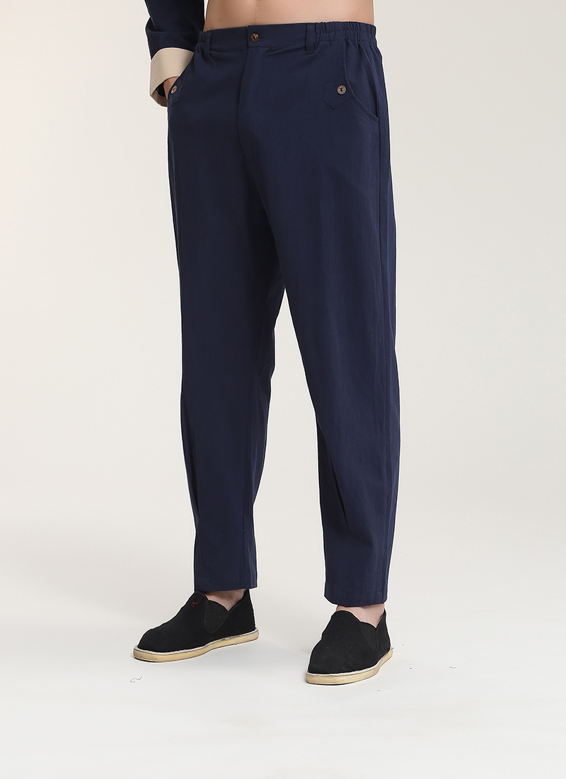 Chinese-style Chinese Style Cotton Linen 2715-3 Chinese Costume Men Long Pants Middle-aged Pants/Set