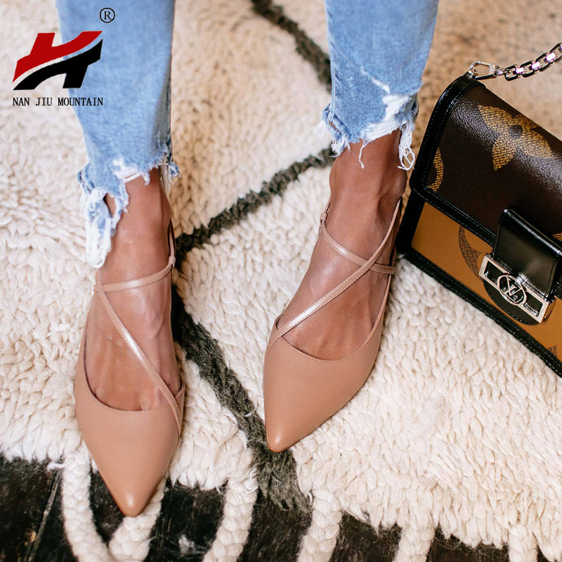 NAN JIU MOUNTAIN 2020 Women Flat Shoes Spring Autumn Pointed Sandals Cross Buckle Women Single Shoes Plus Size 34-43