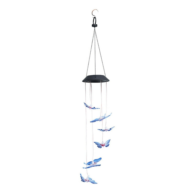 Solar Butterfly Wind Chime Lights LED Colorful Lamp For Outdoor Garden Yard Hanging Decorations