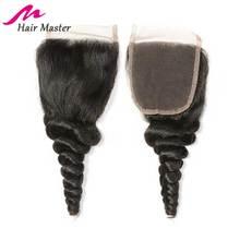Do włosów mistrz brazylijski luźna fala zamknięcie Remy uzupełnienie splotu ludzkich włosów 4 #215 4 naturalny kolor koronki zamknięcie szwajcarskiej koronki zamknięcie darmowa wysyłka tanie tanio Hair Master Remy włosy Luźne fale 4 x 4 Ręka wiążący 1 sztuka tylko Średni brąz Brazylijski włosy Swiss koronki